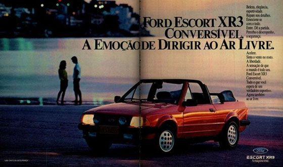 Ford Escort XR3 Conversível. A emoção de dirigir ao ar livre. Beleza, elegância, esportividade. Repare nos detalhes. Emocione-se com o todo. Entre. Dê a partida. Perceba o desempenho, a segurança. Acelere. Sinta o vento no rosto. A liberdade. A sensação de que o mundo é todo seu. Ford Escort XR3 Conversível. Tudo o que você espera de um verdadeiro esportivo. Agora também ao ar livre.